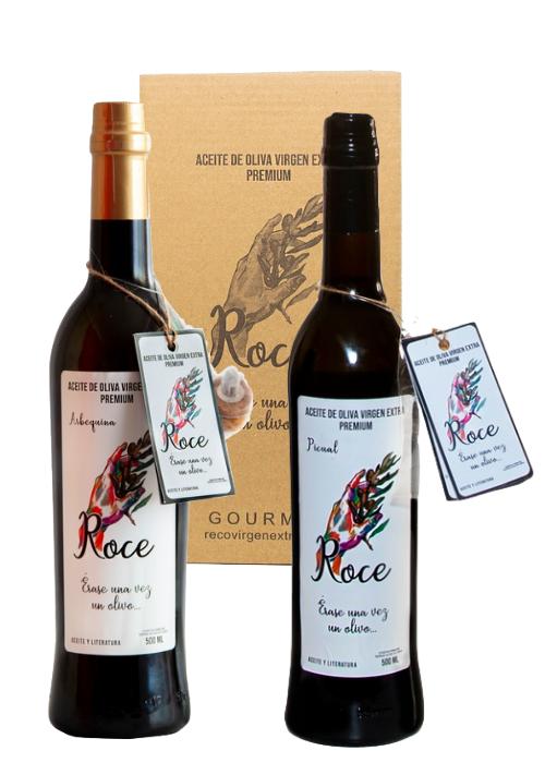 Estuche de dos botellas AOVE variedades arbequina y picual