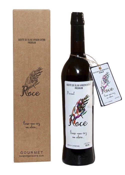 Botella de aceite oliva virgen extra variedad picual